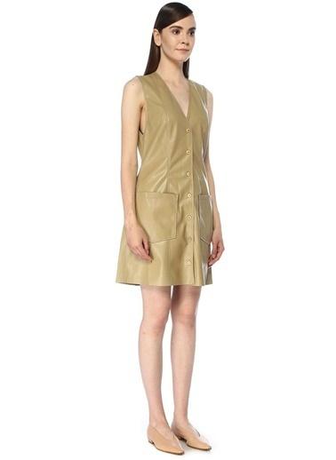 Nanushka Nanushka Menphi  V Yaka Mini Elbise 101534253 Haki